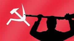 communism gun hold up rifle - stock footage