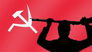 Stock Video Footage of communism gun hold up rifle