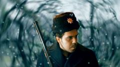 Communist soldier snow standing Stock Footage