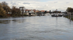 Danube River Regensburg Stock Footage