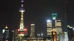 Shanghai night,pearl-town & Lujiazui financial building. Stock Footage