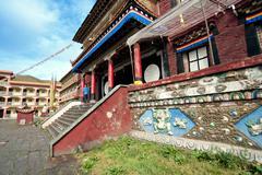 tibetan buddhism temple inside - stock photo