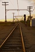 railroad in illinois, united states - stock photo