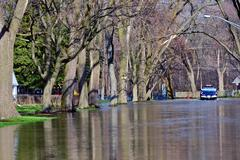 Flooded streets - natural disaster Stock Photos