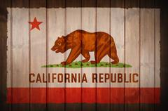 california republic flag on wood wall - stock illustration