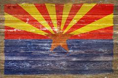 Arizona flag on wood wall Stock Illustration