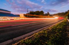 Evening commute traffic near lake wylie north and south carolina border over  Stock Photos