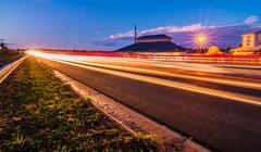 evening commute traffic near lake wylie north and south carolina border over  - stock photo