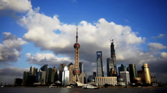 Shanghai skyline & flying cloud,world business Centre building. Stock Footage