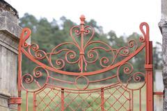 wrought iron gate - stock photo