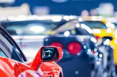cars on display at an autoshow - stock photo