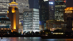 Shanghai bund at night,Lujiazui economic center,busy Huangpu River shipping. Stock Footage
