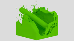 Fluid Cube - Green (HD+Alpha) Stock Footage