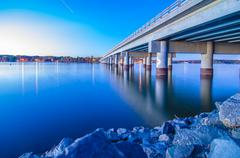 Bridge over lake wylie Stock Photos
