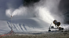 Ski Resort Making Snow Before Natural Snow Has Fallen Stock Footage
