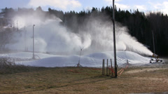 Making Snow Before Natural Snowfall on Ski Hill Stock Footage