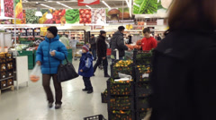 People in a supermarket in Kyiv 5 - stock footage