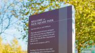 Stock Video Footage of Pack Square Park Signage in City of Asheville, NC