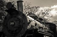 Stock Photo of old black locomotive engine details