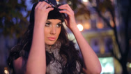 Stock Video Footage of Beautiful woman in a fur and hat