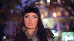 Fur Fashion Hat. Beautiful Girl in Furry Stock Footage