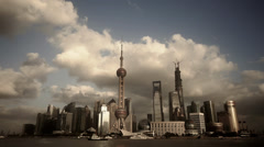 Time lapse Shanghai skyline & flying cloud,world urban economic Centre building Stock Footage