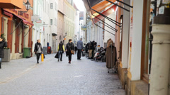 Regensburg Shopping Street Stock Footage