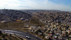East Jerusalem flight over Arab neighborhoods Stock Footage