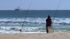 4K Fisherman on the Beach 3841 Stock Footage