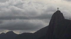 0101 Rio, Christ the Redeemer on cloudy sky Stock Footage