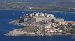 Stock Video Footage of aerial corsica calvi citadel
