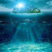 Stock Illustration of alone island in ocean, abstract environmental backgrounds