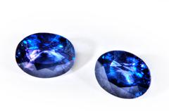 Blue diamonds isolated on white background. Stock Photos