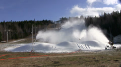 Early Season Snowmaking on Ski Hill in Nova Scotia Canada Stock Footage