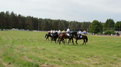 Mounted police horse riders demonstration perform show Stock Footage