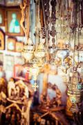 crosses sold in via dolorosa street market, jerusalem old city, israel. - stock photo