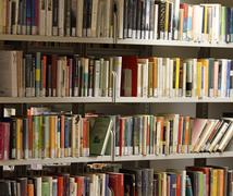 Books on loan in a big italian municipal library 1 Stock Photos