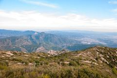 Aerial view from mountains of montserrat, catalonia Stock Photos