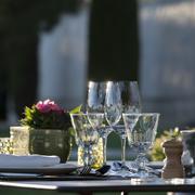 gastronomy-restaurant - luxury -.terrace in summer - vineyard - stock photo