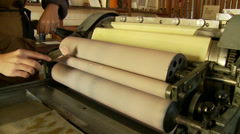 Painting a LetterPress Machine in the Afternoon Stock Footage