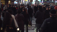 Stock Video Footage of Slo-mo of NYC nighttime crowds (1 of 10)