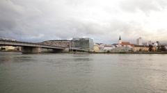 River Danube Linz Austria - stock footage