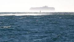 Container ship in the windstorm. - stock footage