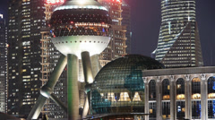 Shanghai night,closeup of pearl-town & Lujiazui financial building. Stock Footage