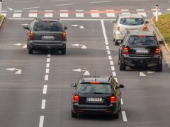crossing a staße - stock photo