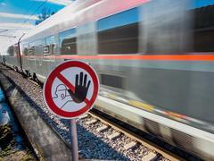 Rails of a railroad Stock Photos