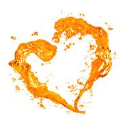 heart from yellow water splash with bubbles isolated on white - stock illustration