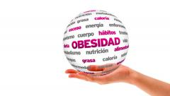 Obesity word sphere (In Spanish) Stock Footage