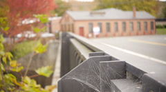 Bridge with spider webs during autumn Stock Footage