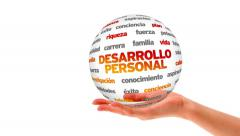 Personal Development word sphere (In Spanish) Stock Footage